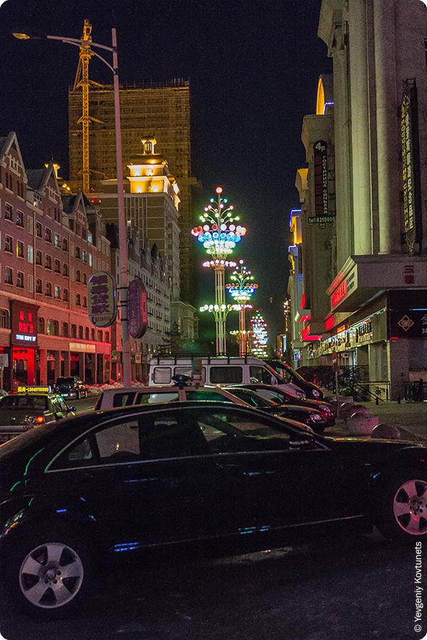прекрасные фонари на улицах ночной Маньчжурии