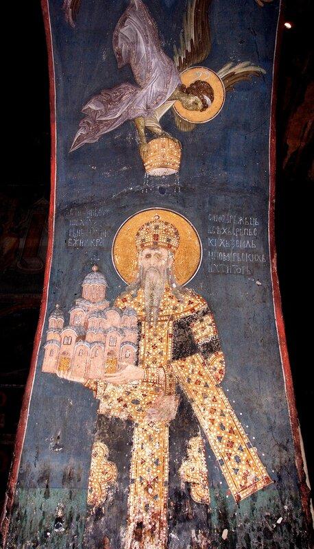 Святой Краль Стефан Урош II Милутин. Фреска монастыря Грачаница, Косово, Сербия. Около 1320 года.