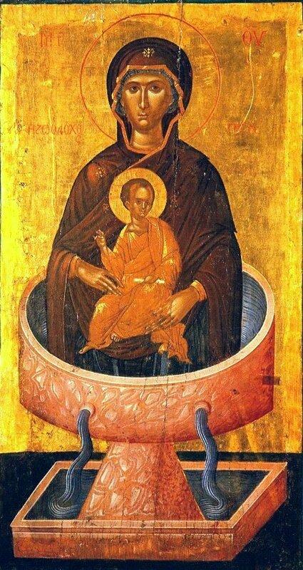 """Икона Божией Матери """"Живоносный Источник"""". Критская школа иконописи, XV век. Иконописец Ангелос."""
