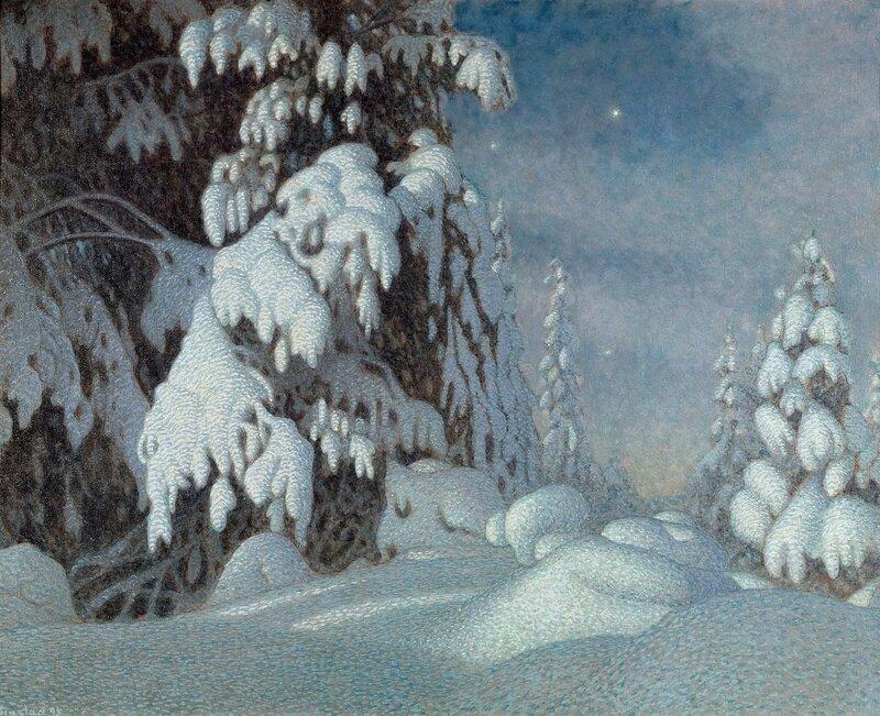 Gustaf Fjaestad. Зимний лунный свет. 1895.jpg