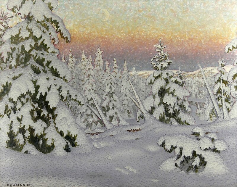 Gustaf Fjaestad. Зимний пейзаж в сумерках. 1918.jpg