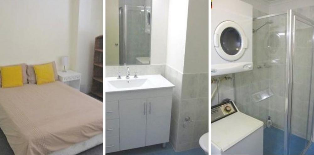 Место: Центральный деловой район. 1 спальня. Маленький санузел, стиральная машинка. Москва, Россия —
