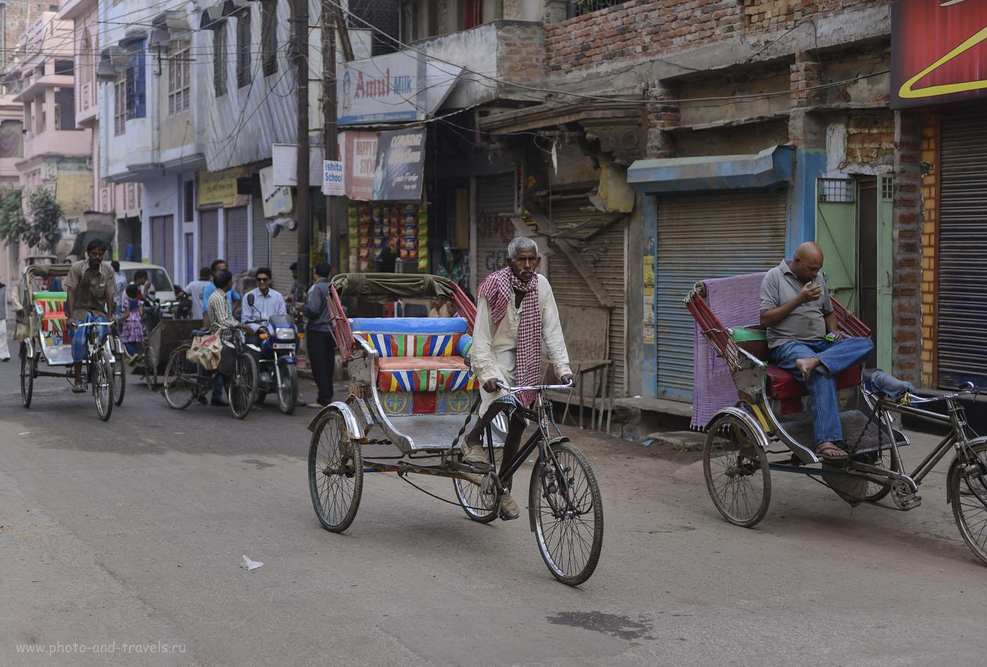 Фотография 6. Велорикши – основной вид транспорта на равнинных городах в Индии. В Гималаях, в Дарджилинге (Западная Бенгалия) или в Гангтоке (Сикким) мы их не видели. 1/400, -0.33, 2.8, 250, 48.