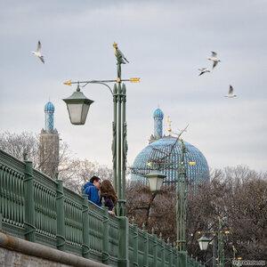Поцелуй (Иоанновский мост, мост, поцелуй, птиц, Соборная мечеть, фонарь, чайка)