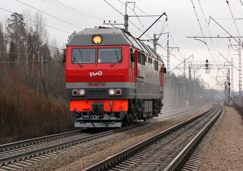 ТЭП70БС-239 на перегоне Стекольный - Новолисино