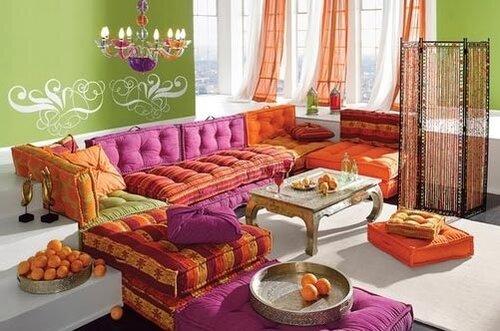 интерьер гостиной в стиле кантри.