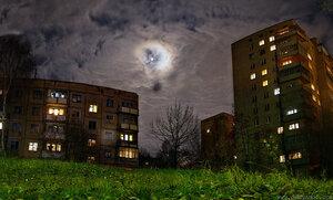 4020 ночь, город, небо, панорама, Чебоксары, HDR