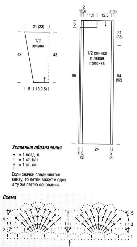Схема ажурного пальто крючком
