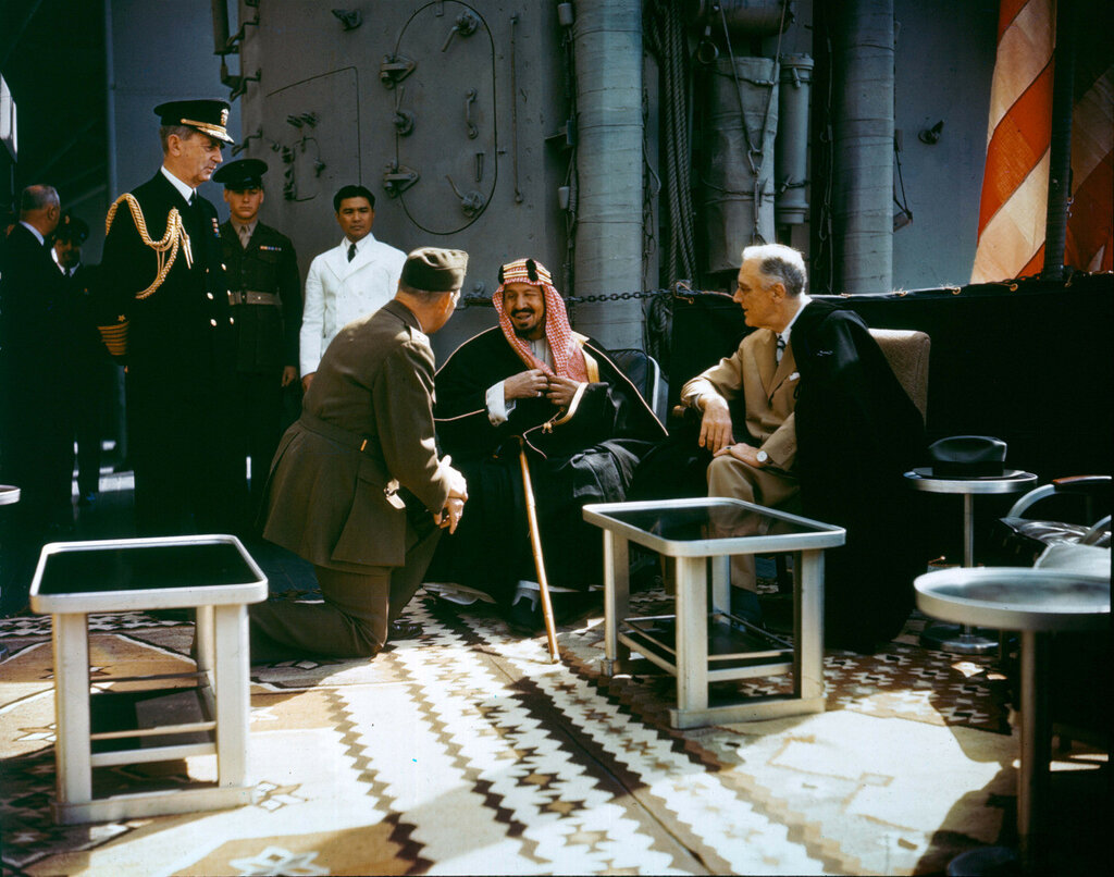 1945 14 Feb President Roosevelt and Admiral Leahy meeting with King Ibn Saud of Saudi Arabia, on board the USS Quincy.jpg