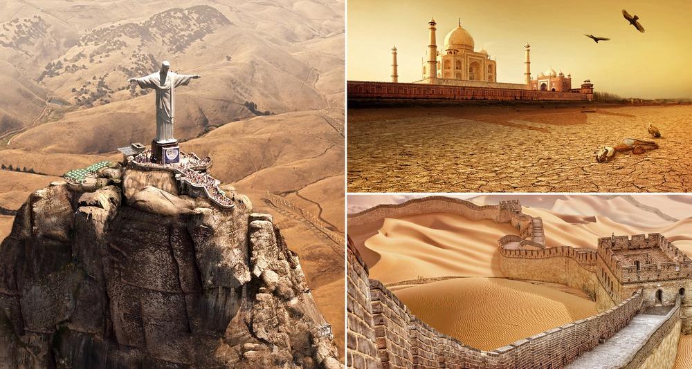 Мировые достопримечательностей после засухи