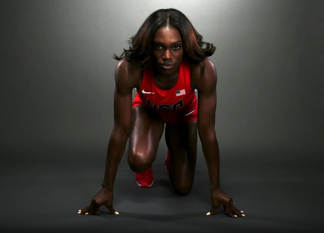 Hurdler Dawn Harper-Nelson poses for a portrait at the U.S. Olympic Committee Media Summit in Beverl