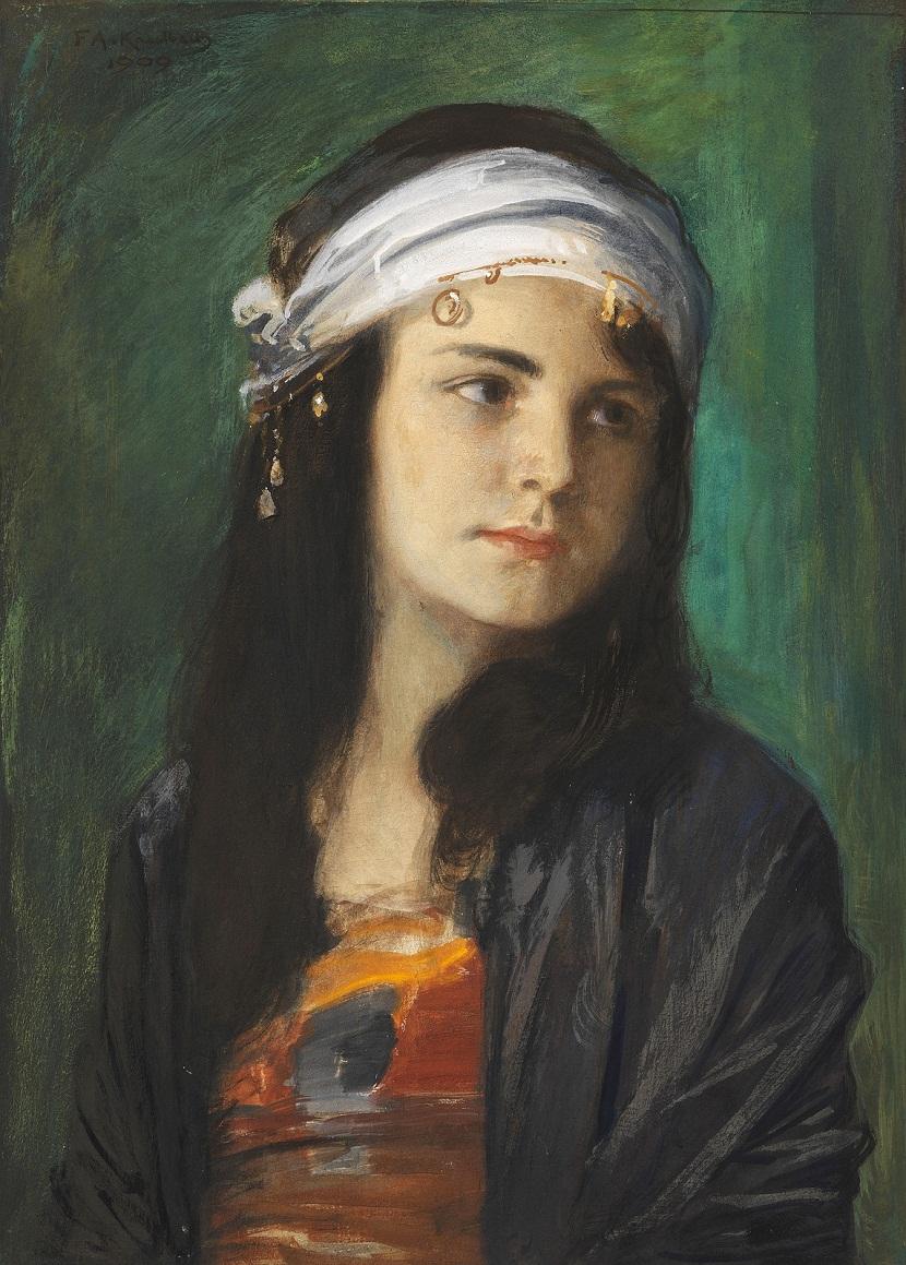 1909 Портрет девушки (Гедда, дочь художника в образе восточной красавицы) (Hedda, the daughter of the artist as Oriental)