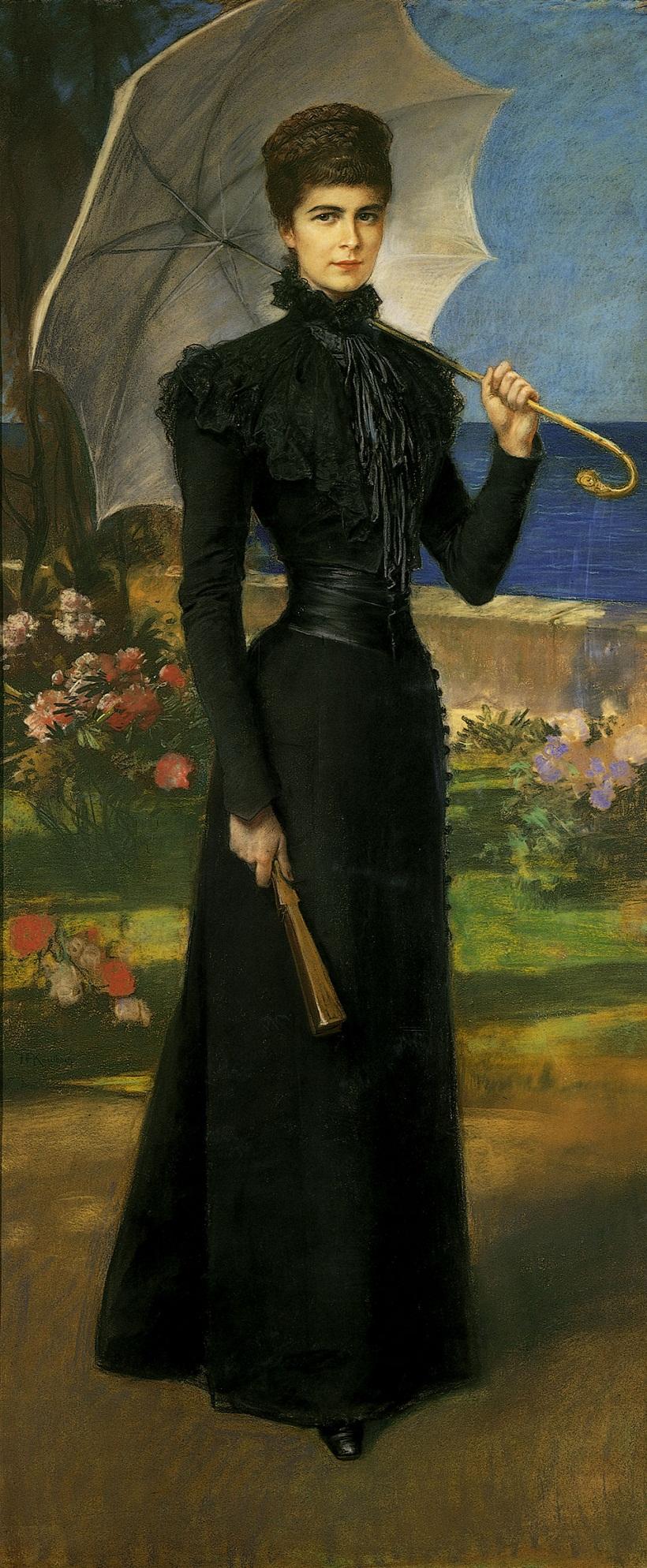 Kaiserin Elisabeth auf Korfu klein Pastell von Friedrich August Kaulbach nach 1898 Bundesmobilienverwaltung