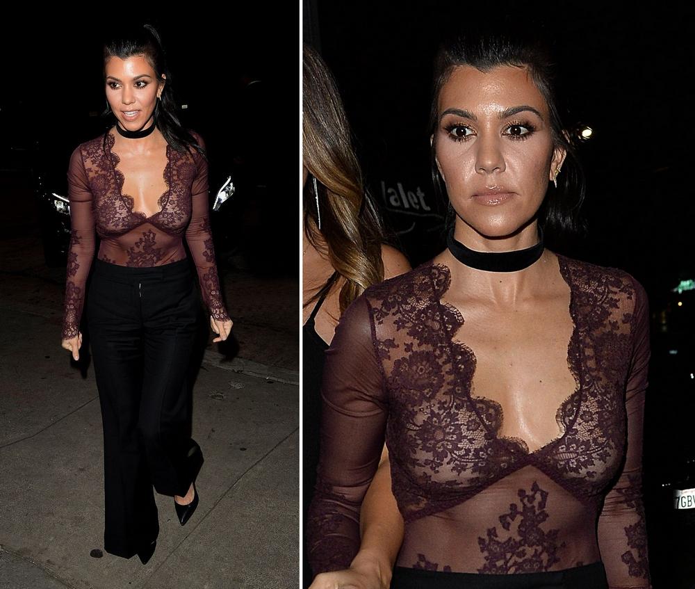Сестра Ким Кардашьян в прозрачной блузке без бюстгальтера