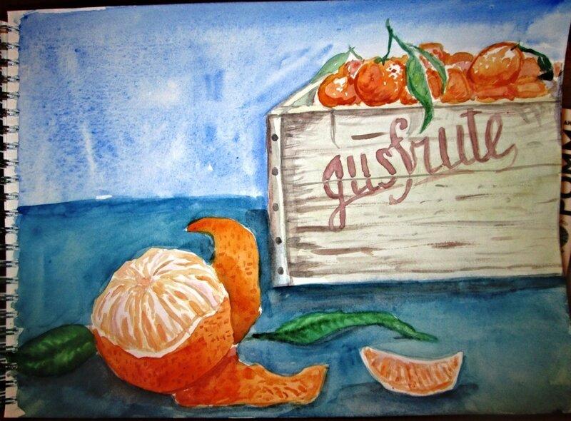 акварельная зима. мандарины