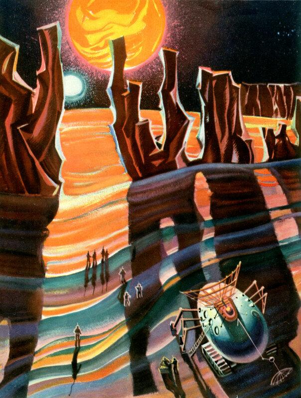 Удивительное зрелище увидят космонавты на спутнике марса. Художник Р.Ж.Авотин