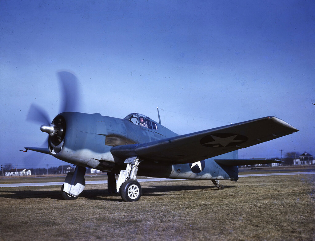 Left front view of U. S. Navy Grumman F6F-3 Hellcat (BuNo 04778) on the ground with engine running, probably Long Island, New York, c1942