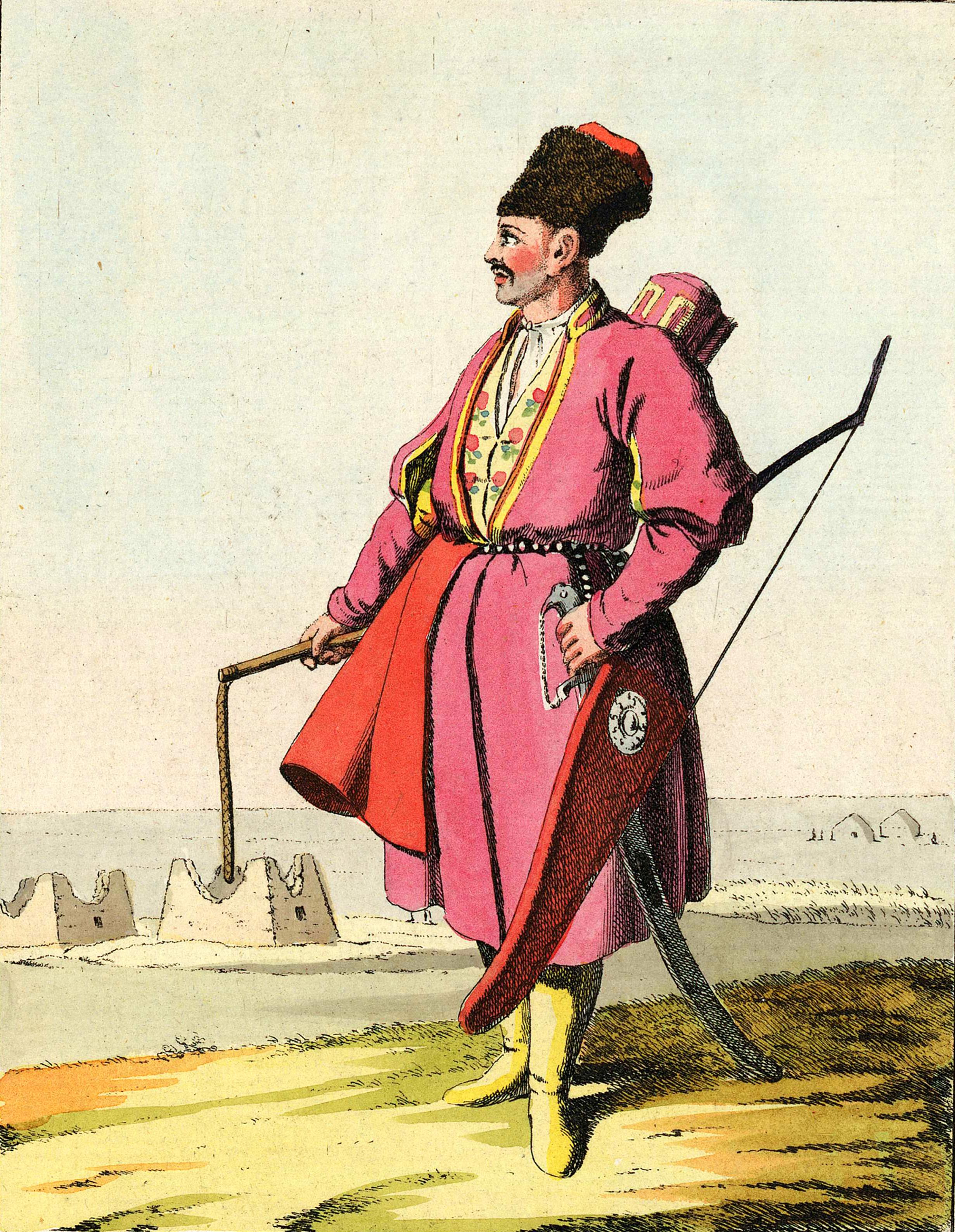 10. Туркмен со своими вечными спутниками во время верховой езды — хлыстом, луком и колчаном со стрелами.