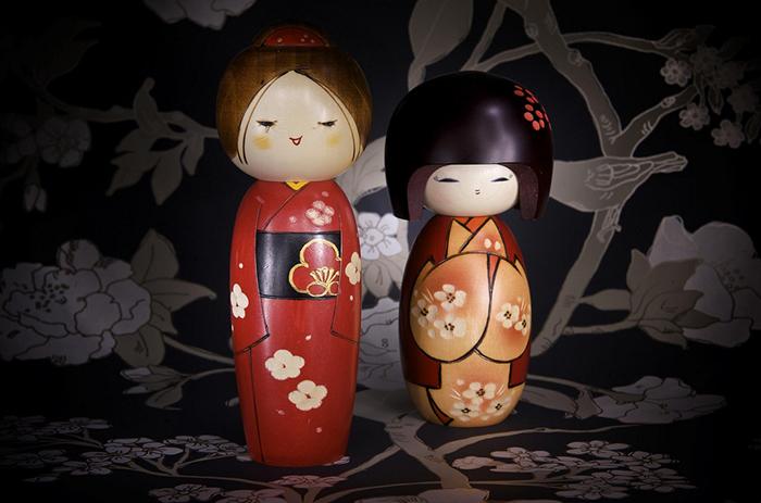Сувенирные японские куклы-кокеши (Kokeshi Doll)