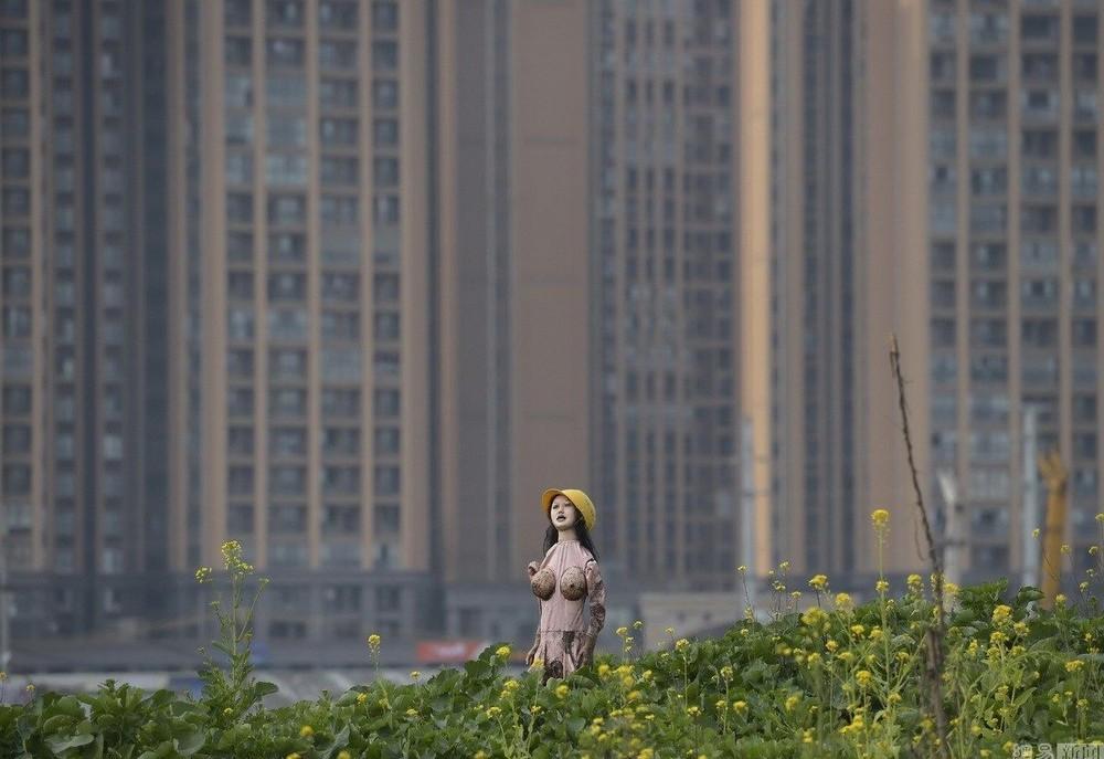Оригинальное пугало китайского фермера