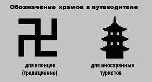 Вариант замены обозначения буддистских храмов в японских путеводителях