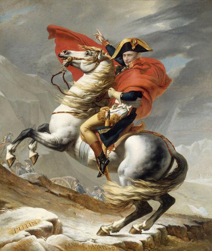 Владимир Путин в роли Наполеона, переходящего через Альпы