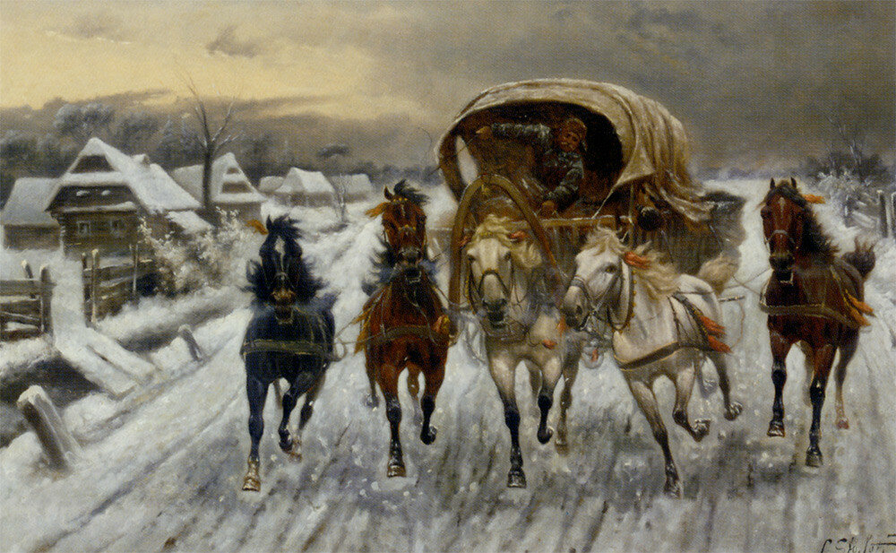 Constantin Stoiloff - A Russian Caravan Racing in the Snow.jpg