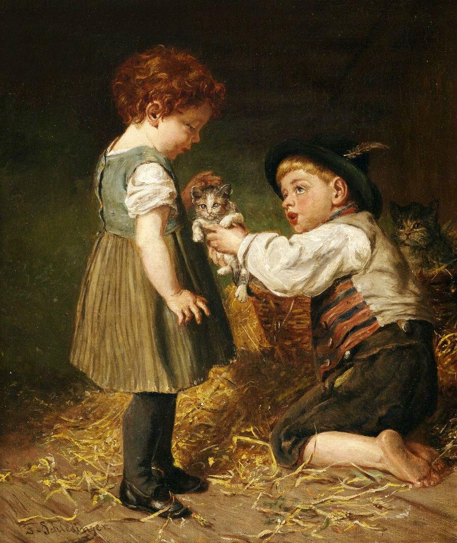 Félix_Schlesinger_Zwei_Kinder_mit_Kätzchen_im_Stall.jpg