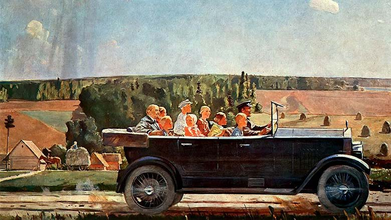 Александр Дейнека Ленин на прогулке с детьми, холст, масло.jpg