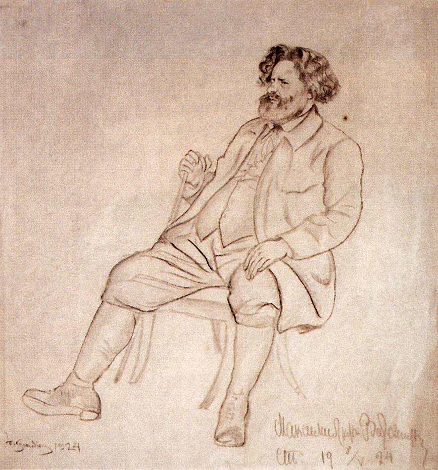 9. Кустодиев Б.М. Портрет Волошина, 1924