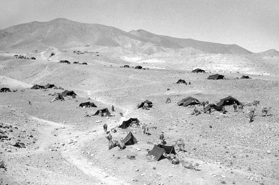 Nomad camp at base of Lataband Pass in Karkacha Hills, Afghanistan, on October 8, 1949.