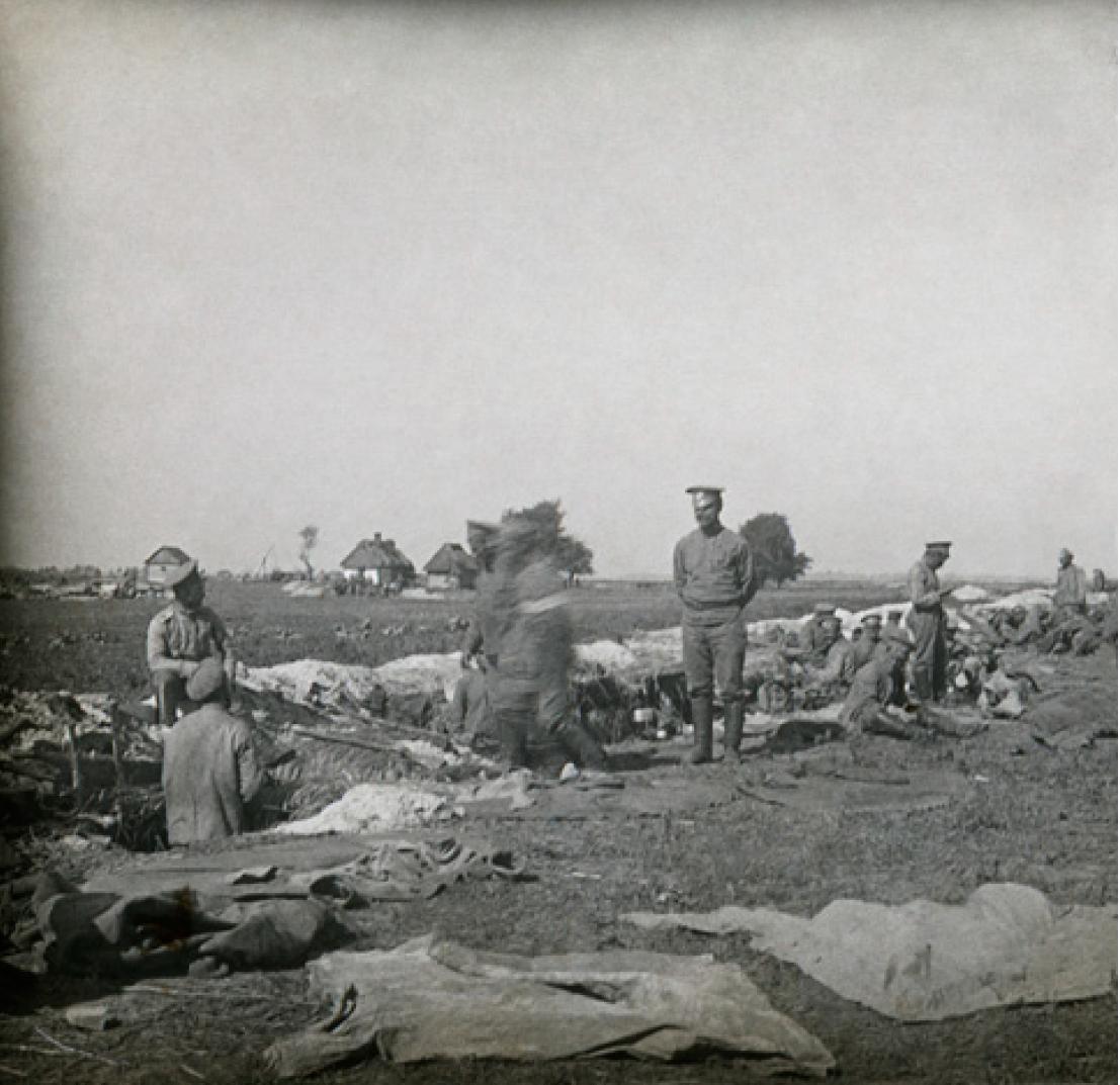 11. 1914. Полк в окопах у реки Сан. Деревня Кемпа, Галиция