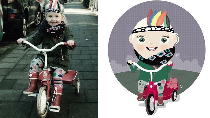 Художница превращает случайные детские фотографии в забавные иллюстрации