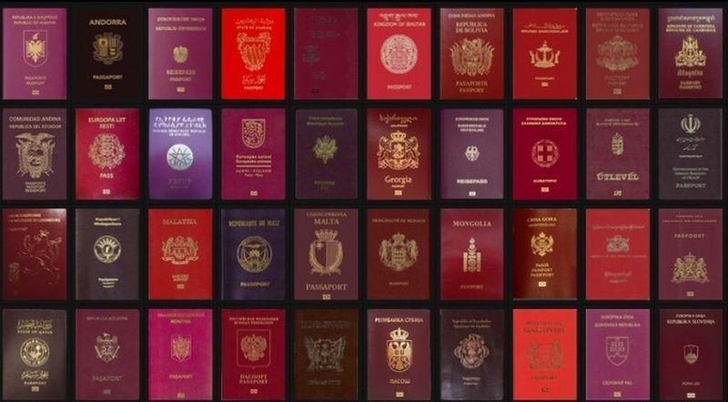Обложки паспортов разных стран