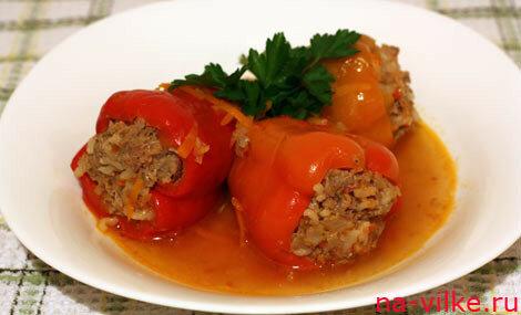 Перцы фаршированные мясом и рисом с фото