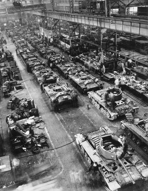 Valentine Tanks on the Assembly Line in Tank Shop, Elswick Works, Newcastle upon Tyne, 28 sept 1942