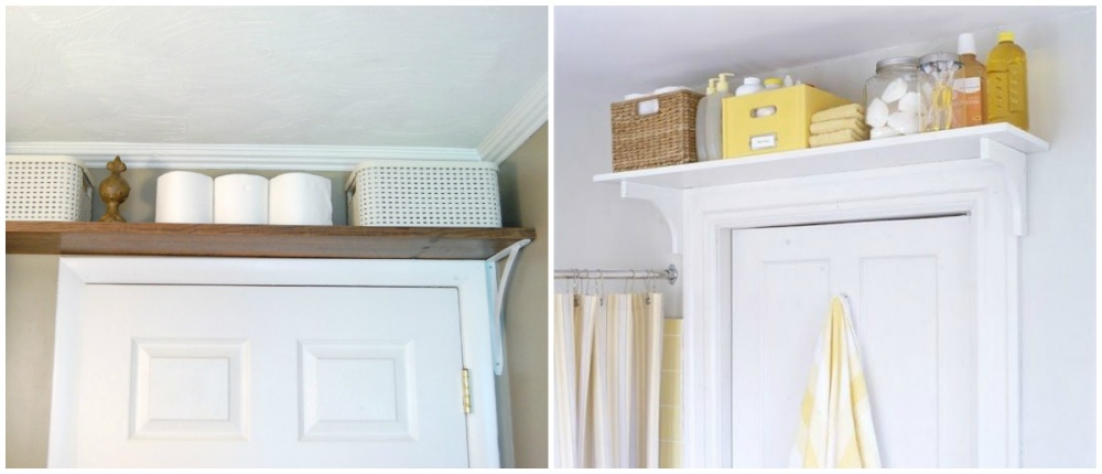Полка, подвешенная над входной дверью, создает дополнительное место для хранения полезных мелочей. С
