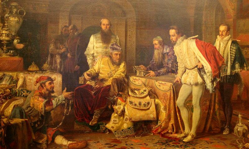 А.Д. Литовченко. 1875 г. холст, масло.Иван Грозный показывает сокровища английскому послу Горсею.