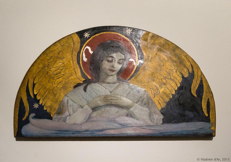 Ангел печали. Эскиз мозаики в арке над криптой церкви в Новой Черногории. Нестеров М.В. 1900 г.