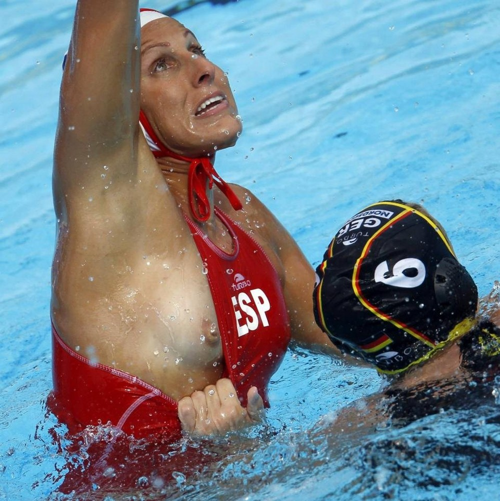 Claudia Blomenkamp of Germany fights for a ball with Blanca Gil of Spain during their European Water Polo Championships preliminary match in Zagreb