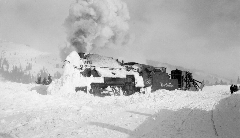 Cumbres snow plowing. Denver and Rio Grande Western locomotive 483 vents smoke near Cumbres, (Rio Arriba County), New Mexico. 1949 January 21