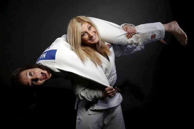 Judo competitors Marti Malloy (L) and Kayla Harrison pose for a portrait at the U.S. Olympic Committ
