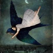 Девушка летит на ласточке