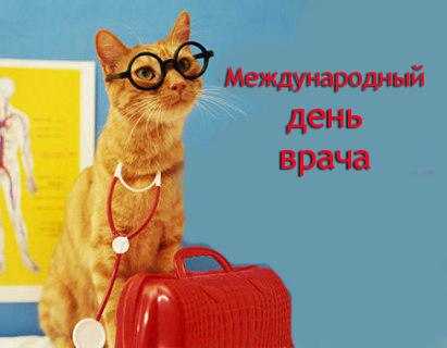 С Международным днем врача. Кот - доктор