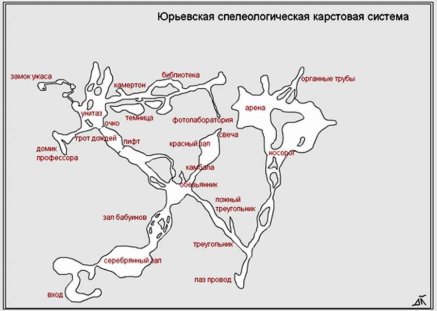 Карта-схема Юрьевской пещеры.