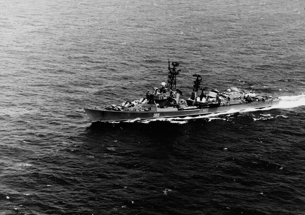 BEDOVYI. Soviet KILDIN Class guided missile destroyer in the Atlantic Ocean, headed for Cuba. Wed, Jul 09, 1969.