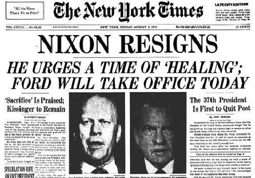 Уотергейтский скандал (англ. Watergate scandal) — политический скандал в США 1972—1974 годов, законч