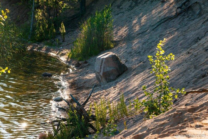 Камень на песчаном откосе, карьер Гаврилово