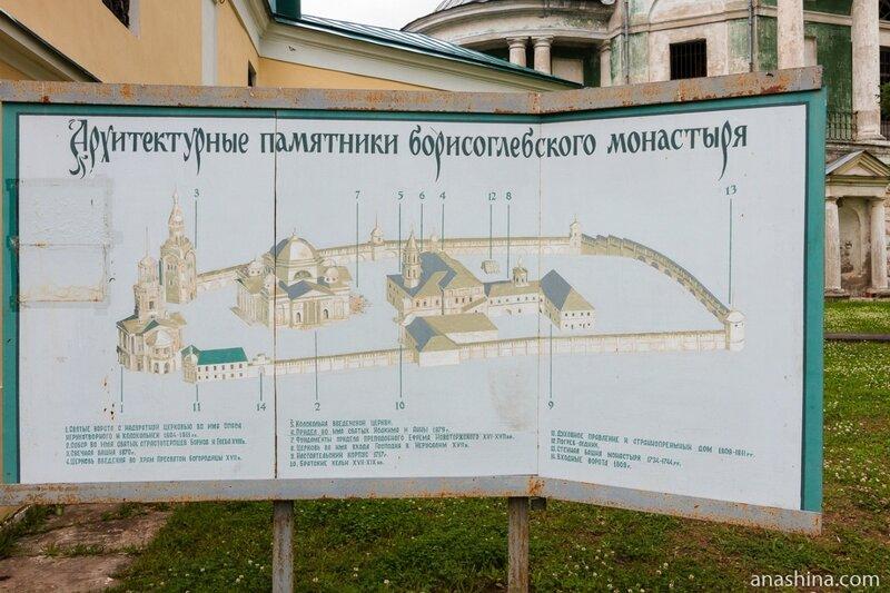 Архитектурные памятники Борисоглебского монастыря, схема, Торжок