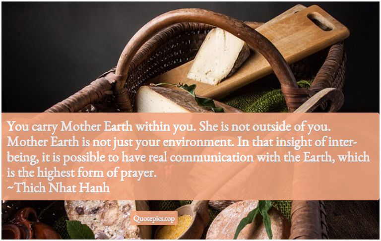 You carry Mother Earth within you. She is not outside of you. Mother Earth is not just your environment. In that insight of inter-being, it is possible to have real communication with the Earth, which is the highest form of prayer. ~Thich Nhat Hanh